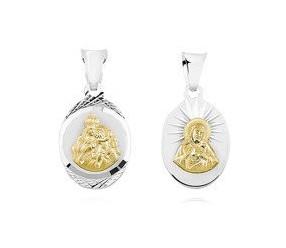 Srebrny medalik Jezus Matka / Boska Szkaplerzna - pozłacany