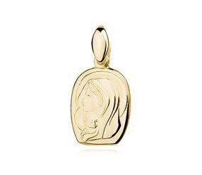 Srebrny pozłacany medalik Matka Boska z dzieciątkiem