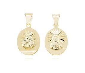 Srebrny pozłacany medalik Jezus Matka / Boska Szkaplerzna