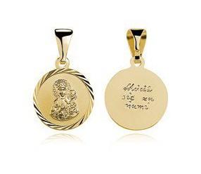 Srebrny pozłacany medalik Matka Boska Częstochowska