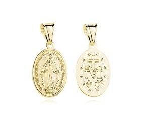 Srebrny pozłacany medalik pr.925 Matka Boska Cudowna