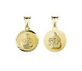 Srebrny pozłacany medalik Jezus / Matka Boska Szkaplerzna