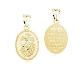 Srebrny pozłacany medalik pr.925 - Święta Rita