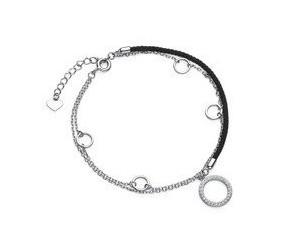 Srebrna pr.925 bransoletka z czarnym sznurkiem - kółka z cyrkoniami