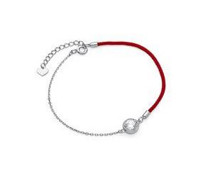 Srebrna pr.925 bransoletka z czerwonym sznurkiem - cyrkonia