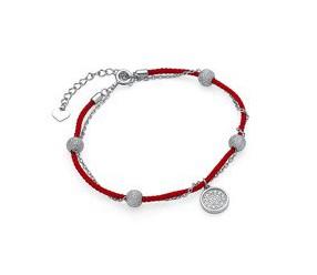 Srebrna pr.925 bransoletka z czerwonym sznurkiem - kółeczka z cyrkoniami