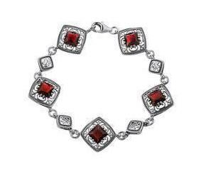 Srebrna bransoletka pr.925 Cyrkonia czerwona