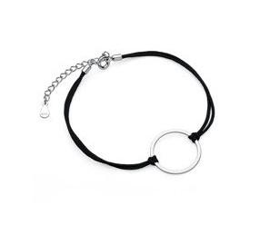 Srebrna pr.925 bransoletka z czarnym sznurkiem - kółko