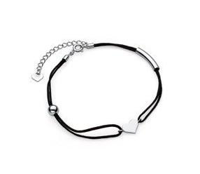 Srebrna pr.925 bransoletka z czarnym sznurkiem - serduszko