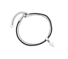 Srebrna pr.925 bransoletka z czarnym sznurkiem - krzyżyk