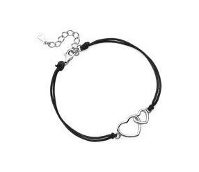 Srebrna pr.925 bransoletka z czarnym sznurkiem - serca