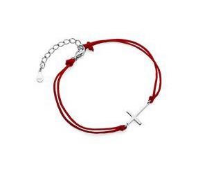 Srebrna pr.925 bransoletka z czerwonym sznurkiem - krzyż