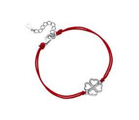 Srebrna pr.925 bransoletka z czerwonym sznurkiem - koniczyna