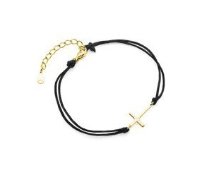 Srebrna pr.925 bransoletka z czarnym sznurkiem - pozłacany krzyż
