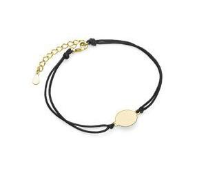 Srebrna pr.925 bransoletka z czarnym sznurkiem - pozłacane kółko