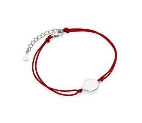 Srebrna pr.925 bransoletka z czerwonym sznurkiem - kółko