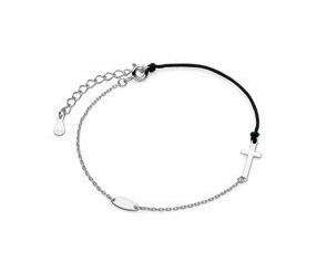 Srebrna pr.925 bransoletka z czarnym sznurkiem - krzyż