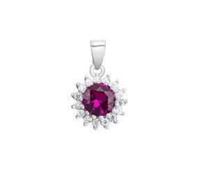 Srebrna zawieszka pr.925 elegancka rubinowa cyrkonia - karmazycja