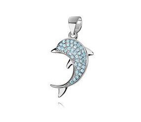 Srebrna zawieszka pr.925 delfin z akwamarynowymi cyrkoniami