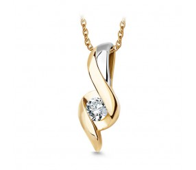 Staviori Wisiorek. 1 Diament, szlif brylantowy, masa 0,08 ct., barwa H, czystość I2. Żółte Złoto 0,585. Wymiary 14x5 mm.