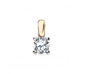 Staviori Wisiorek. 1 Diament, szlif brylantowy, masa 0,10 ct., barwa H, czystość SI1-SI2. Żółte, Białe Złoto 0,585. Średnica 3,5 mm. Długość 8 mm.
