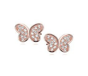 Srebrne kolczyki pr. 925 motylki z cyrkoniami, różowe złoto dla dzieci