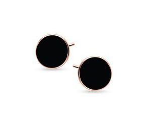 Srebrne pozłacane kolczyki pr.925 czarne emaliowane kółeczka - różowe złoto