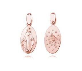 Srebrny (pr.925) pozłacany medalik dwustronny - Matka Boska Cudowna - różowe złoto