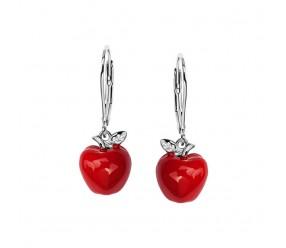 Staviori Kolczyki czerwone jabłka. Emalia. Srebro 0,925. Długość 28 mm.   Zapięcie typu bigiel angielski.