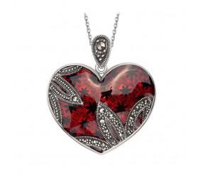 Staviori Wisiorek serce czerwone. Markazyty. Srebro 0,925. Wymiary 25x30 mm. Długość 32 mm. Grubość 4 mm.