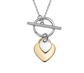 Staviori Naszyjnik dwa serca długi 60cm. Srebro rodowane 0,925.  pokryte żółtym złotem