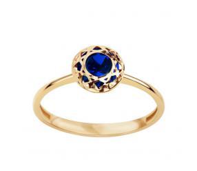 Staviori pierścionek złoty pr.585 z niebieską cyrkonią w ażurowej oprawie