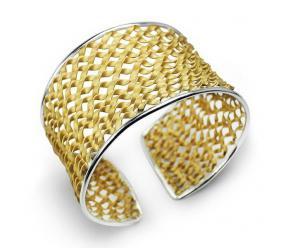 Staviori Bransoleta bangiel otwarta. Srebro 0,925.  pokryte żółtym złotem Średnica 58 mm.